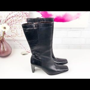 Etienne Aigner Magnet Black Leather Mid-Calf Boots